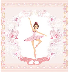 Beautiful ballerina - abstract card with pink vector