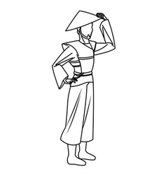Character asian man to ancient clothes and hat vector