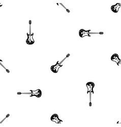 classical electric guitar pattern seamless black vector image
