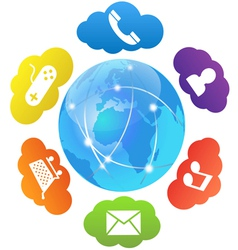 cloud computing and apps vector image vector image