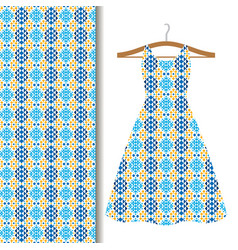 dress fabric with blue geometric mosaic vector image
