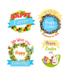easter eggs and rabbit cartoon symbol set design vector image vector image