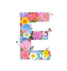 Fashion alphabet from lovely flowers of daffodils vector image