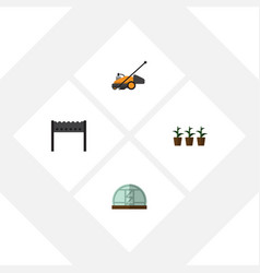 Flat icon dacha set of flowerpot lawn mower vector