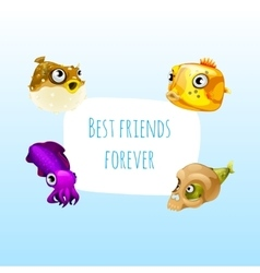 Four best friends fish with frame for text vector