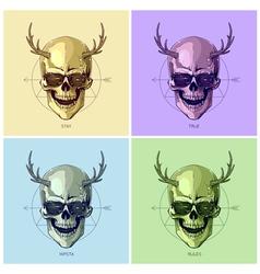 Hipster skulls pop art vector