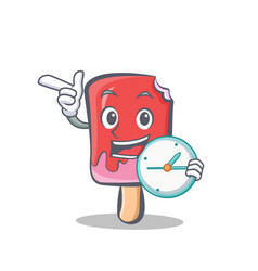 ice cream character cartoon with clock vector image vector image