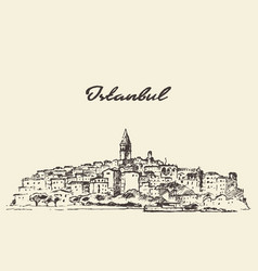 istanbul skyline turkey drawn sketch vector image