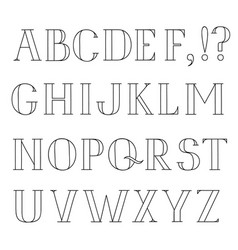 latin alphabet grunge line font hipsters character vector image