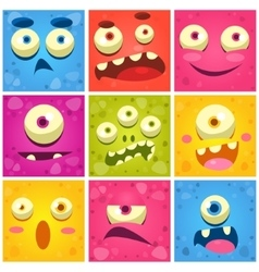 Monster faces collection vector