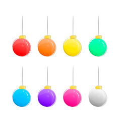 set of christmas balls isolated on white vector image vector image