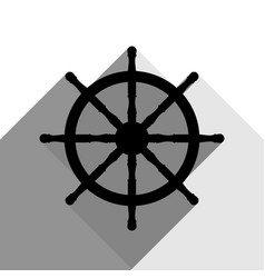 ship wheel sign black icon with two flat vector image