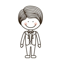 Silhouette boy with formal suit and tie vector