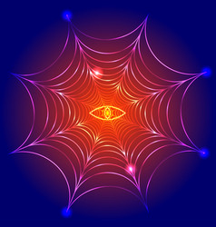 Spider web cobweb with fire eye vector