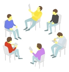 Talks Group of business Five people team meeting vector image vector image