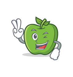 Two finger green apple character cartoon vector