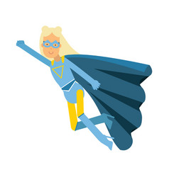 Young blonde woman in classic blue superhero vector