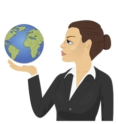 young businesswoman holding globe vector image