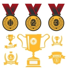 Set of medal icons trophy first place design vector