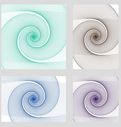 Fractal spiral page background design set vector image