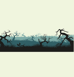 silhouettes of broken trees and marsh grass vector image