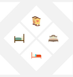 Flat bedroom set of crib bearings bed and other vector
