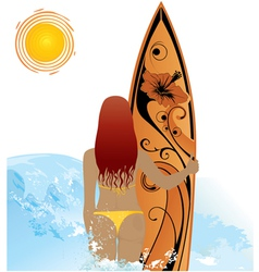 Beach woman with surf vector