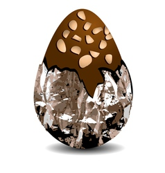 Chocolate egg with nuts vector