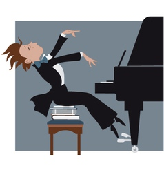 Boy playing a piano vector