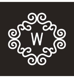 White vintage twirl frame for w letter vector