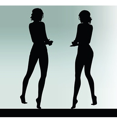 Woman silhouette with hand gesture explain vector