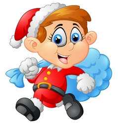 Little kid with santa costume vector