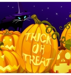 Pumpkin with the words trick or treat vector
