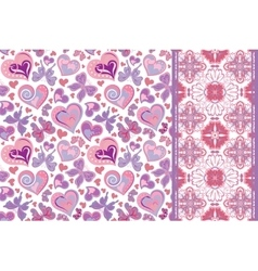 Set of valentines floral background with hearts vector