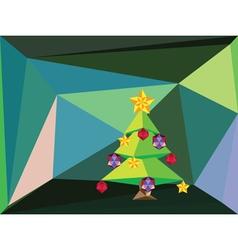 Green Polygonal Christmas Tree2 vector image
