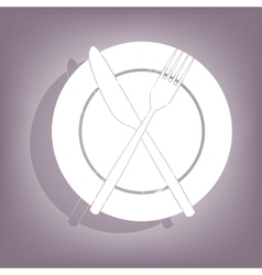 Fork and knife icon with shadow vector