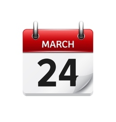 March 24 flat daily calendar icon date vector