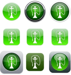 Hookah green app icons vector