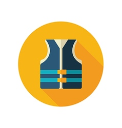 Life jacket flat icon summer vacation vector