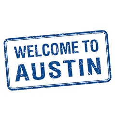 Welcome to austin blue grunge square stamp vector