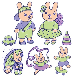 Bunnies for children set 2 of 2 vector