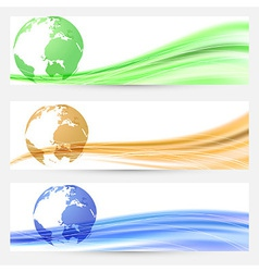 Abstract world map colorful cards collection vector image