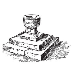 Baptismal font at wistanstow vintage vector