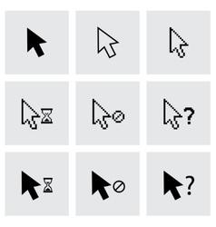 black cursor icon set vector image vector image