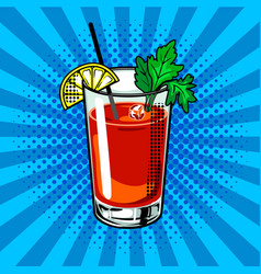 bloody mary cocktail pop art vector image vector image