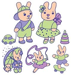 Bunnies for children set 2 of 2 vector