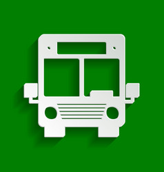 Bus sign paper whitish icon vector