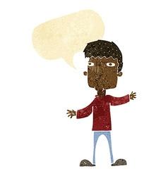 Cartoon curious man with speech bubble vector