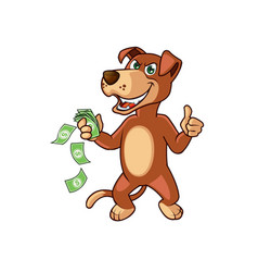 Dog cartoon doing business with money in hand vector