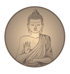 gautama buddha with closed eyes in frame vector image